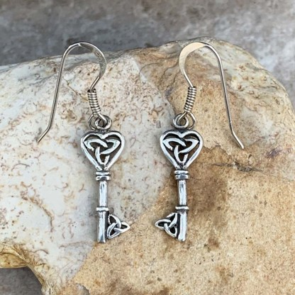 Sterling Silver Key Earrings