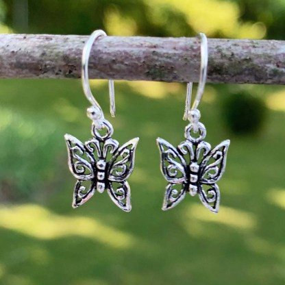 Sterling Butterfly Dangle Earrings