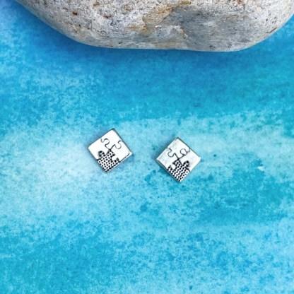Sterling Jigsaw Puzzle Earrings