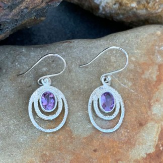 Amethyst & Sterling Oval Earrings