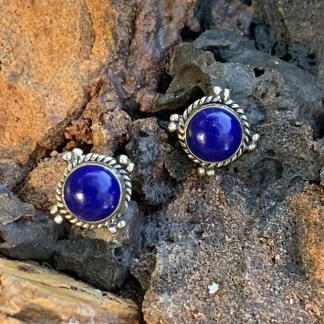 Lapis & Sterling Beaded Earrings