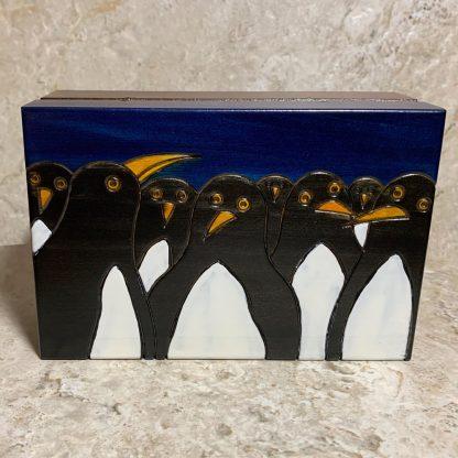 Whimsical Wooden Penguin Box