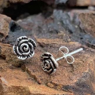 Sterling Rose Stud Earrings