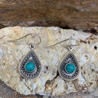 Turquoise & Sterling Teardrop Earrings