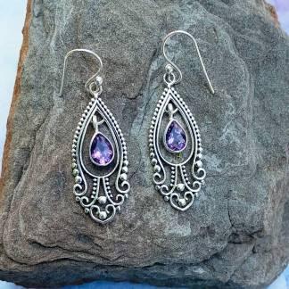 Amethyst Drop & Silver Earrings