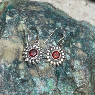 Garnet & Sterling Sunburst Earrings