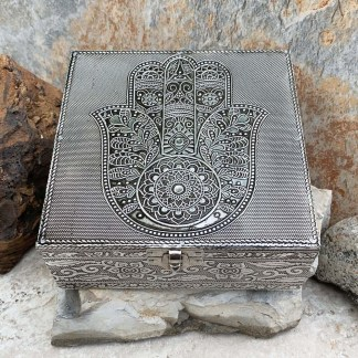 Hamsa Hammered Tin Box