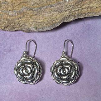 Sterling Rose Dangle Earrings