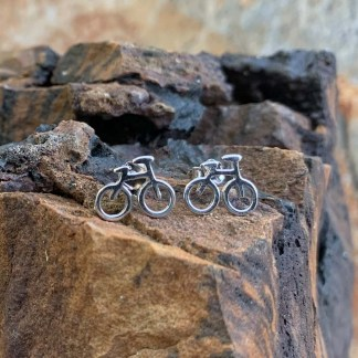 Sterling Silver Bicycle Earrings