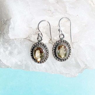 Feminine Citrine & Sterling Earrings