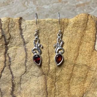 Garnet & Sterling Dangle Earrings