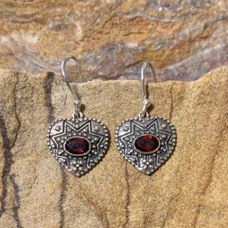 Garnet Heart Dangle Earrings