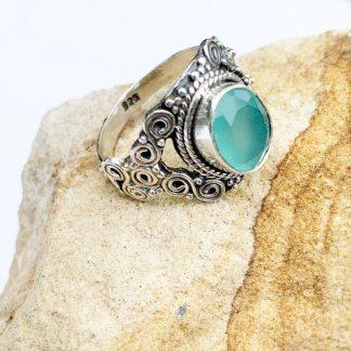 Aqua Chalcedony Swirl Ring