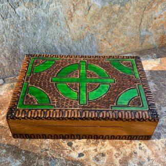 Green Celtic Cross Box