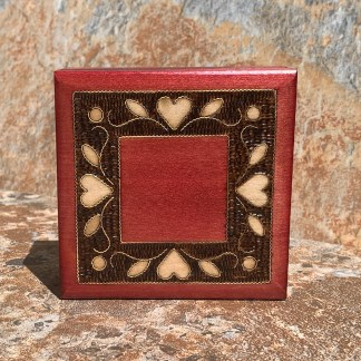 Wooden Inlaid Hearts Box