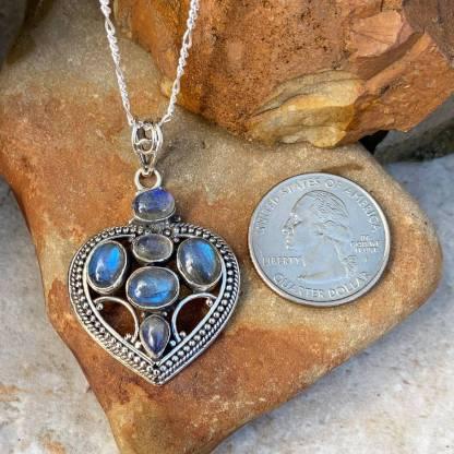 Labradorite & Sterling Silver Heart Pendant