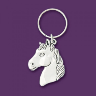 Horse Head Pewter Keychain