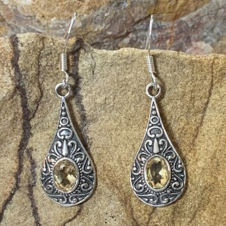 Citrine & Sterling Bali Earrings