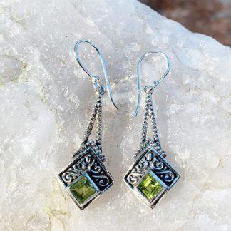 Peridot & Sterling Kite Earrings
