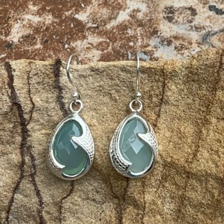 Aqua Chalcedony & Sterling Earrings