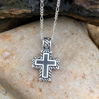 Onyx and Sterling Cross Pendant