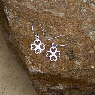 Sterling Clover & Heart Earrings