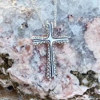 Modern Silver Cross Pendantt