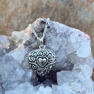 Silver Antiqued Heart Pendant