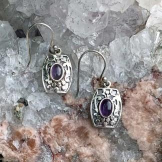 Amethyst & Sterling Shield Earrings