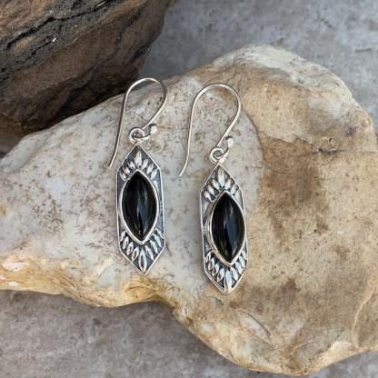 Black Onyx & Sterling Earrings