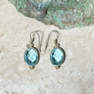 Blue Topaz Oval Earrings