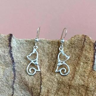 Sterling Cat Dangle Earrings