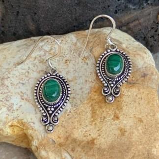 Malachite & Silver Peacock Earrings