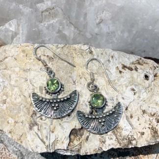 Peridot & Sterling Fan Earrings