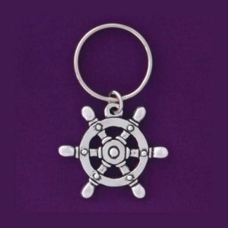 Captains Wheel Pewter Keychain
