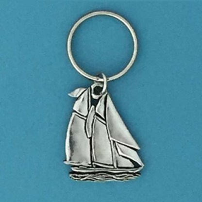 Ocean Sailboat Pewter Keychain
