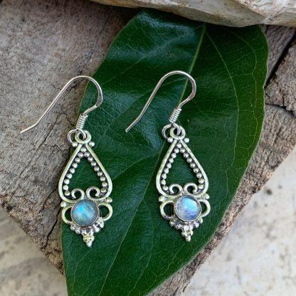 Rainbow Moonstone Sterling Earrings