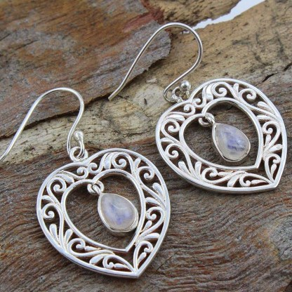 moonstone-sterling -heart-earrings
