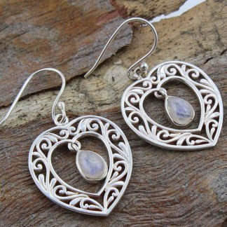 moonstone-sterling -heart-earrings