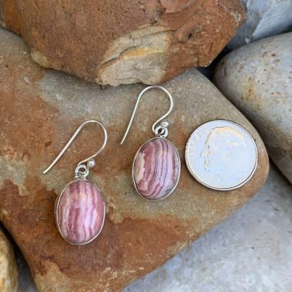 Rhodochrosite and Sterling Silver Earrings