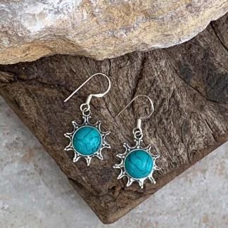 Turquoise & Sterling Sunburst Earrings