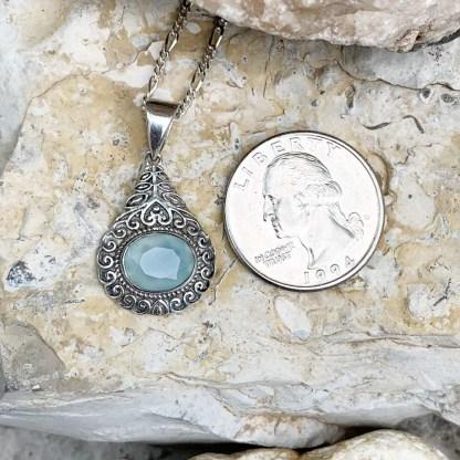 Aqua Chalcedony Sterling Pendant
