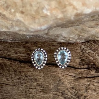Blue Topaz Sterling Studs