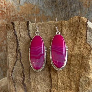Botswana Agate Pink Earrings
