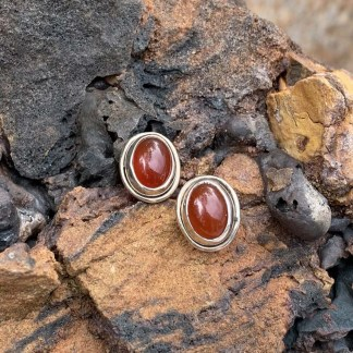 Carnelian Sterling Stud Earrings