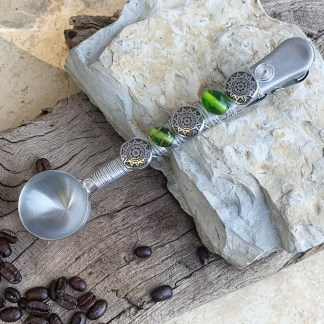 Green Beaded Coffee Clip