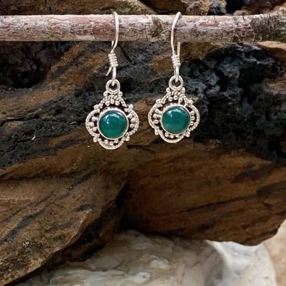 Sterling & Green Onyx Earrings