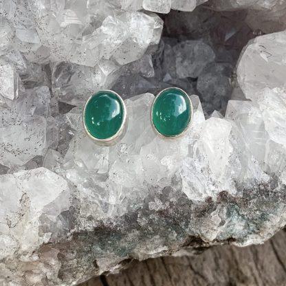 Green Onyx Oval Studs