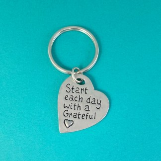 Grateful Heart Pewter Keychain