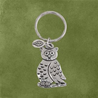 Wise Owl Pewter Keychain